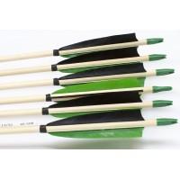 6 Handgemachte Holzpfeile (11/32 45-50# 1x schwarz/2x grün)